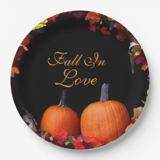 Fall In Love Rustic Autumn Wedding Orange Pumpkins Paper Plate