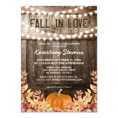 Fall in Love Rustic Fall Bridal Shower Invitation