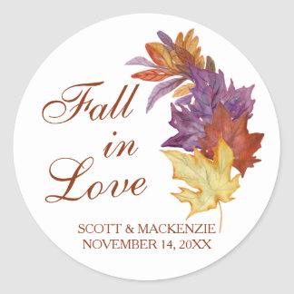 Fall in Love Rustic Leaves Bridal Wedding Favor Classic Round Sticker