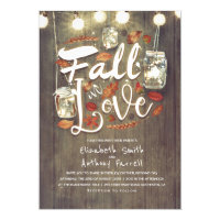 Fall in Love Rustic Mason Jar Lights Wedding Invitation