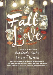 Fall In Love Rustic Mason Jar Lights Wedding Invitation