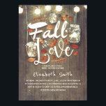 "Fall in Love Rustic Mason Jars Bridal Shower Invitation<br><div class=""desc"">Mason jar lights and fall leaves bridal shower invitations &#39;Fall in Love&#39;</div>"