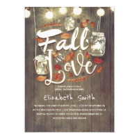 Fall in Love Rustic Mason Jars Bridal Shower Invitation