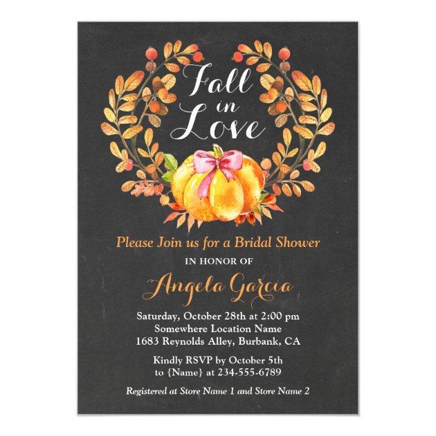 Fall in Love Rustic Pumpkin Bridal Shower Invite (back side)