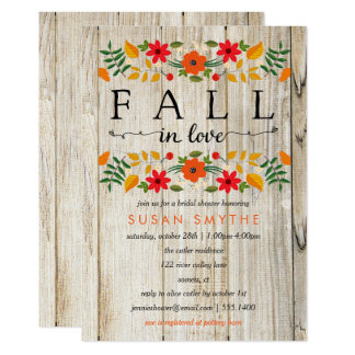 Fall in Love Rustic Shower Invitation