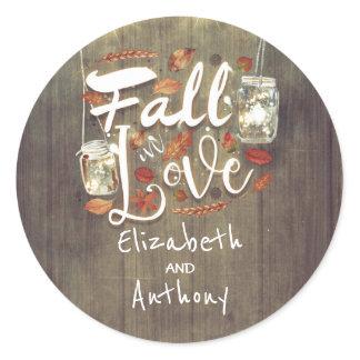 Fall in Love Rustic Wedding Mason Jar Lights Classic Round Sticker