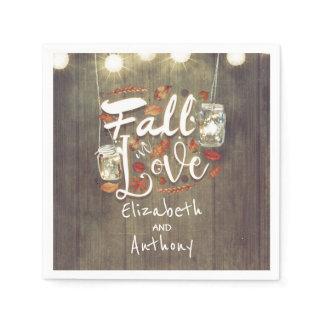 Fall in Love Rustic Wedding Napkin