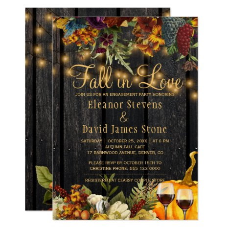 Fall in Love rustic wood floral engagement party Invitation