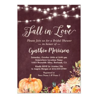 Fall in Love String Lights Floral Bridal Shower Invitation
