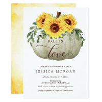 Fall in Love Sunflowers Bridal Shower Invitations