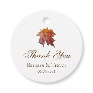 Fall In Love Watercolor Leaf Wedding Thank You Favor Tags