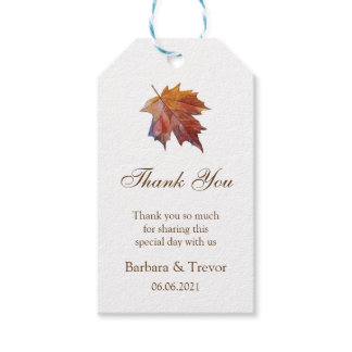 Fall In Love Watercolor Leaf Wedding Thank You Gift Tags