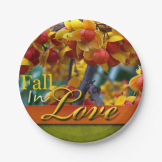 Fall In Love Wedding Autumn Floral Photo Design Paper Plate