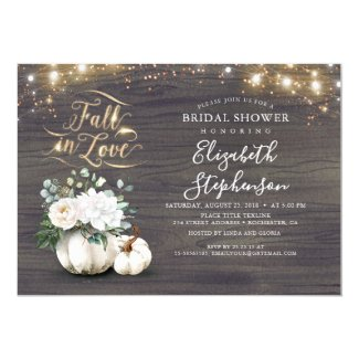 Fall in Love White Pumpkin Rustic Bridal Shower Invitation