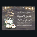 """Fall in Love White Pumpkin Rustic Engagement Party Invitation<br><div class=""""desc"""">FALL IN LOVE rustic country white pumpkin floral vases engagement party invitations.</div>"""