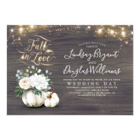Fall in Love White Pumpkin Rustic Fall Wedding Invitation