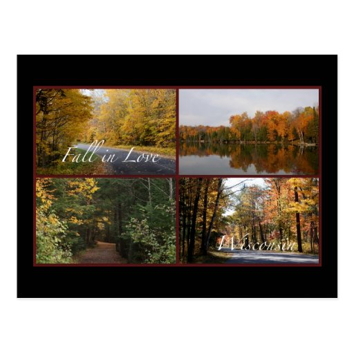 Fall In Love Wisconsin 2 Postcards