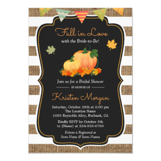 Fall in Love with Bride to Be Autumn Bridal Shower Card