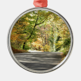 Fall in New England Back Road Round Metal Christmas Ornament