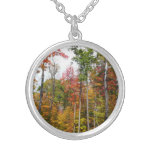 Fall in the Forest Colorful Autumn Photography Silver Plated Necklace