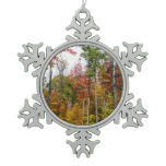 Fall in the Forest Colorful Autumn Photography Snowflake Pewter Christmas Ornament