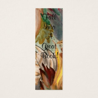 Fall Into A Great Book! Autumn Leaves Painting Mini Business Card
