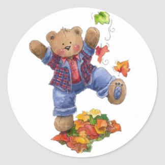 Fall is Fun Bear Classic Round Sticker