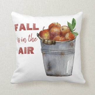 """Fall is in the Air"" autumn apples throw pillow"