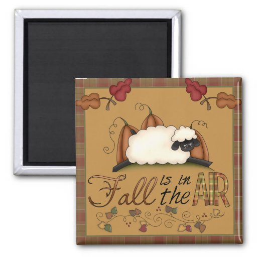 """""""Fall is in the Air"""" Autumn Sheep Square Magnet"""