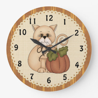 Fall Kitty Clock
