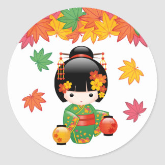 Fall Kokeshi Doll - Green Kimono Geisha Girl Classic Round Sticker