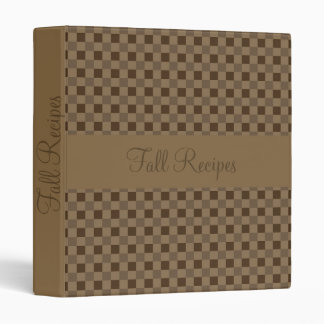 Fall Leaf Brown Squares Recipe 3 Ring Binder