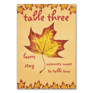 Fall Leaf Bunco Table Card #3