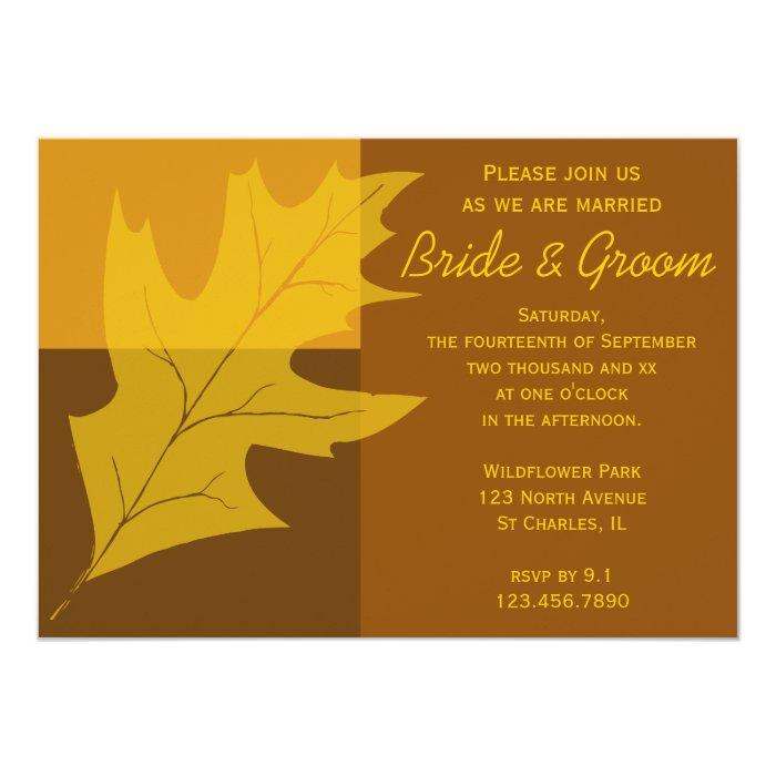 Fall Color Wedding Invitations: Fall Leaf Color Block Wedding Invitation
