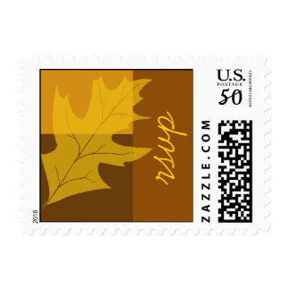 Fall Leaf Color Block Wedding RSVP Postage