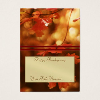 Fall Leaf Elegant Thanksgiving Table Placecard Business Card