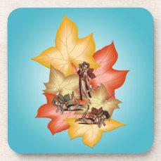 Fall Leaf Fae Triplets Drink Coaster