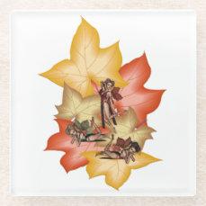 Fall Leaf Fae Triplets Glass Coaster