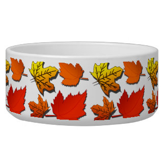 Fall leaf pattern dog bowl