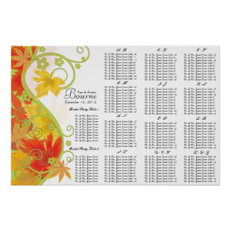 Fall Leaf Seating Chart Table Numbers Poster