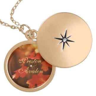 Fall Leaf Wedding Gold Locket Necklace