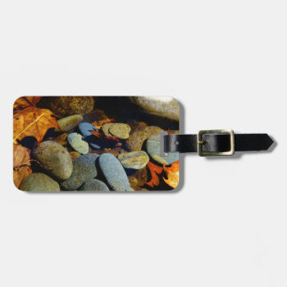 Fall leaf with Rocks in mountain creek Bag Tag