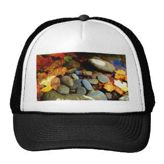Fall leaf with Rocks in mountain creek Trucker Hat
