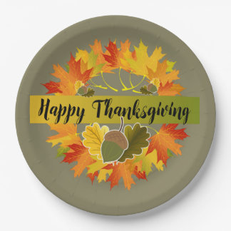 Fall Leaf Wreath with Acorns, Happy Thanksgiving Paper Plate