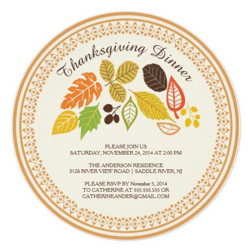 Fall Leave Autumn Thanksgiving Dinner Invitations Custom Invitation