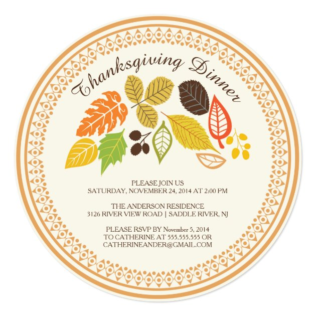 Fall Leave Autumn Thanksgiving Dinner Invitations