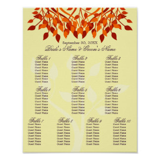 Fall Leaves 11 x 14 Seating Chart For Framing