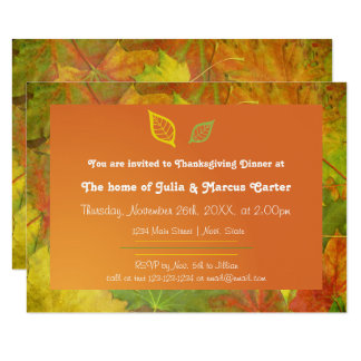 Fall Leaves - 3x5 Thanksgiving Dinner Invite
