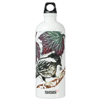 Fall Leaves and a Chick-a-Dee, color block print Aluminum Water Bottle