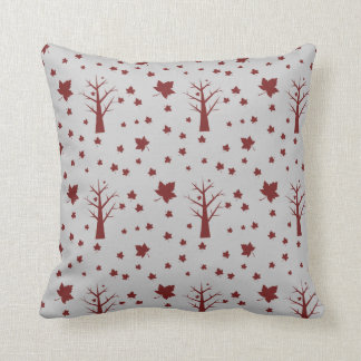 Fall Leaves And Bare Trees Throw Pillow
